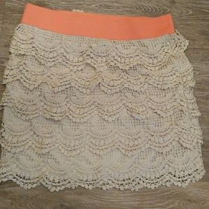 Adorable layered crochet skirt from rue 21 size m